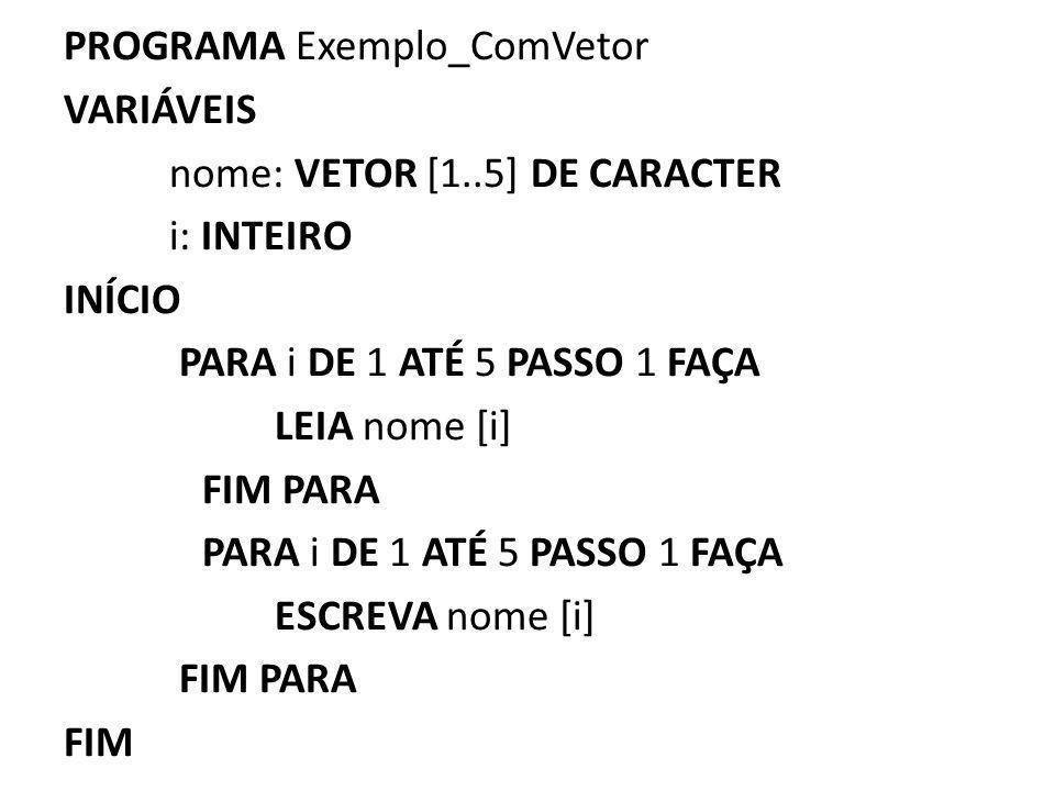 PROGRAMA Exemplo_ComVetor VARIÁVEIS nome: VETOR [1